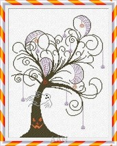 Halloween Tree fall cross stitch chart AAN Alessandra Adelaide Needleworks - $14.17