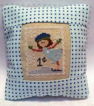 Sally Skater Special Delivery Postage Stamp pillow cross stitch kit Pine Mtn  - $16.20