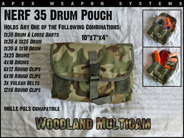 Custom NERF Tactical Gear - 35 Drum Pouch - Clip Holder/Dart Pouch - Woo... - $9.99