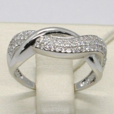 SOLID 18K WHITE GOLD BAND ZIRCONIA RING, ONDULATE, TWISTED, BRAID, MADE IN ITALY