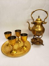 Vintage Brass Teapot Kettle with Stand Burner, Cups and Gold Plated Tray - $79.19