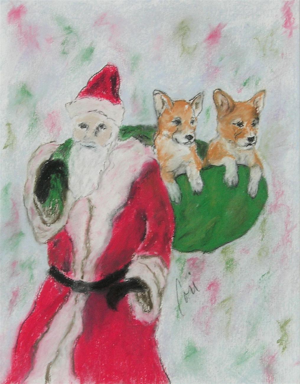 Santa Claus Holiday Christmas Corgi Dog Art Pastel Drawing S