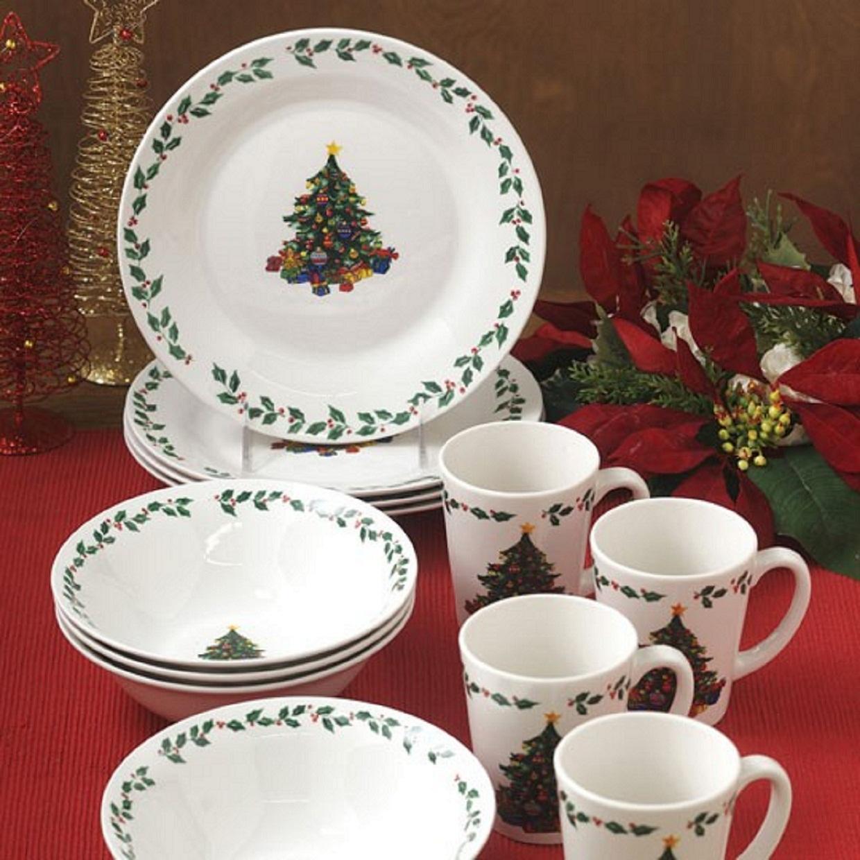 christmas holidays joyous 12 piece dinnerware set service. Black Bedroom Furniture Sets. Home Design Ideas
