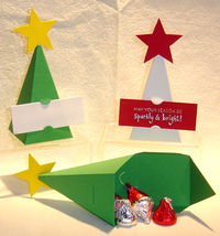 10 Christmas Tree Party Favor Boxes Box Paper *Kit* image 1