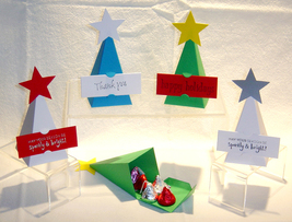 10 Christmas Tree Party Favor Boxes Box Paper *Kit* image 3