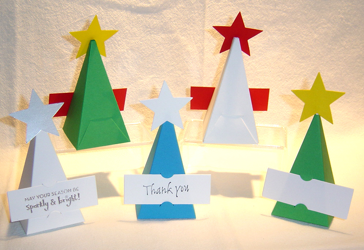10 Christmas Tree Party Favor Boxes Box Paper *Kit* image 4