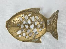 Goldfish Fish Trinket Tray Bowl Soap Dish Aged Patina Footed Brass Finish - $39.95