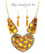 Burnish Gold Tone Necklace With Stones - $13.69