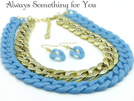 Choker Link Gold Tone & Sky Blue Necklace & Earring Set  - $19.99