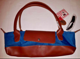NWT SAMBA INSULATED WINE BAG & CORKSCREW Purse TOTE STYLE Blue Brown NEW - $11.87
