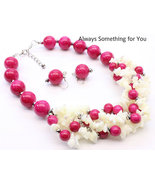 Chunky Pink & White Shell With Bead Necklace Set - $22.99