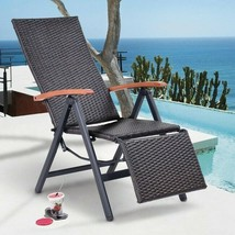 Folding Chaise Lounge Chair Outdoor Rattan Adjustable Pool Patio Beach F... - £86.80 GBP