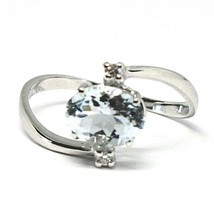 18K WHITE GOLD BAND RING AQUAMARINE 1.25 OVAL CUT & DIAMONDS, MADE IN ITALY image 1