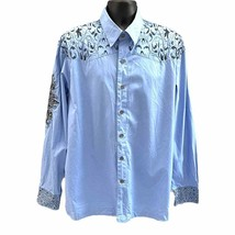Royal Prestige Mens Blue Embroidered Button Up Shirt Size L - $30.00