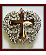 NEW Brown WINGED PRISM GLASS CROSS RHINESTONE WESTERN belt CONCHO WITH 2... - $9.99