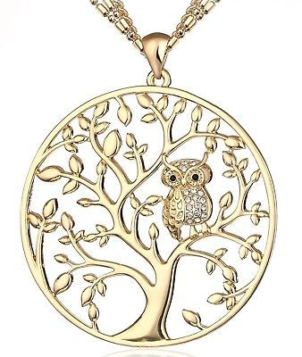 Primary image for  HONGYE Gold Plated And Silver Plated The Owl On The Tree Of Life Round Pendant