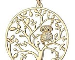 HONGYE Gold Plated And Silver Plated The Owl On The Tree Of Life Round Pendant