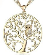 HONGYE Gold Plated And Silver Plated The Owl On The Tree Of Life Round ... - €24,70 EUR