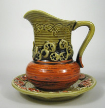 Inarco Pictcher Saucer Ceramic Vase Japan Asian VTG E-4220 Orange Yellow... - $32.71