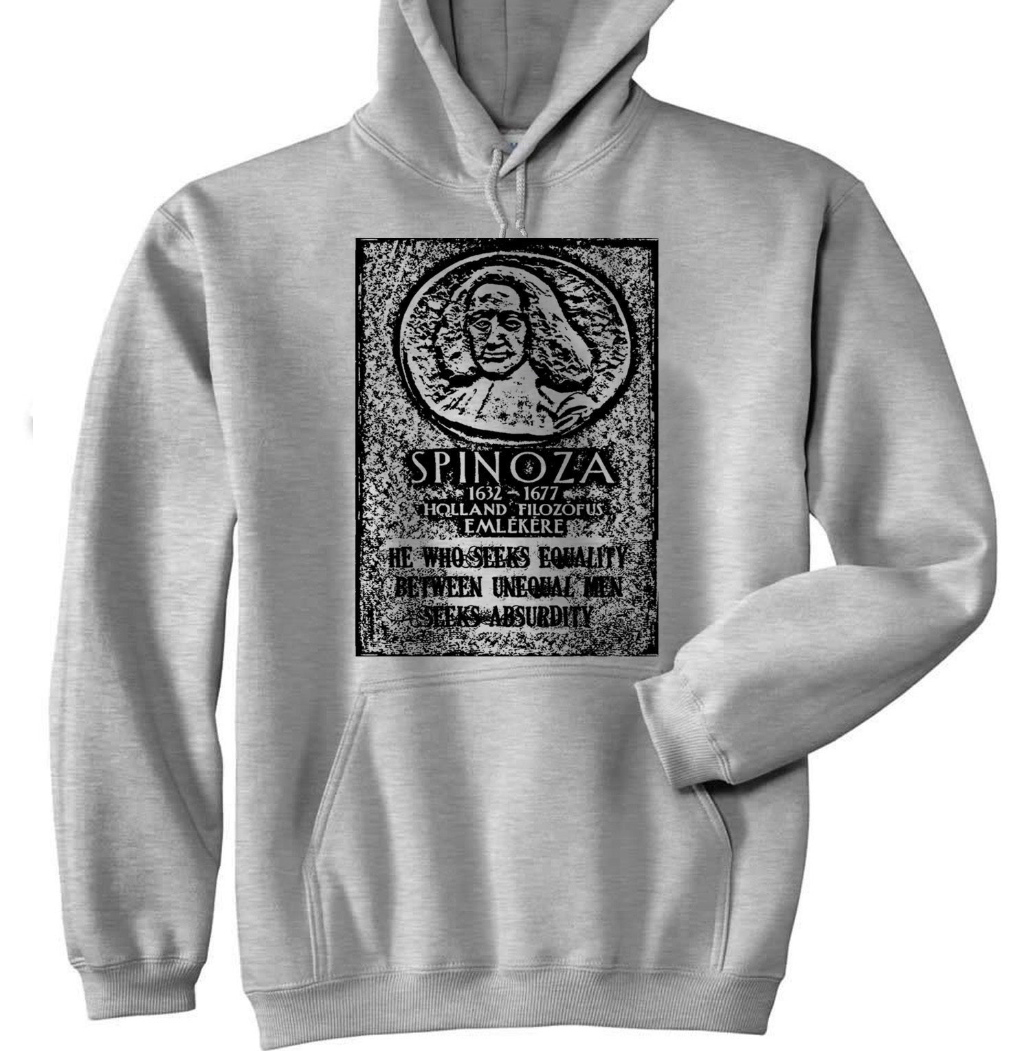 BARUCH SPINOZA EQUALITY QUOTE P - NEW COTTON GREY HOODIE