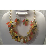 Fashion Multi Color Beads In Yellow, Greens & Orange Necklace & Earring... - $17.99