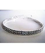 Two Row Rhinestone Silver Tone Stretch Choker Necklace Prom Wedding New ... - $19.75
