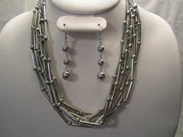 Fashion Silver Tone Multi Layered Metal Beads Necklace & Earring N3200 - $15.99