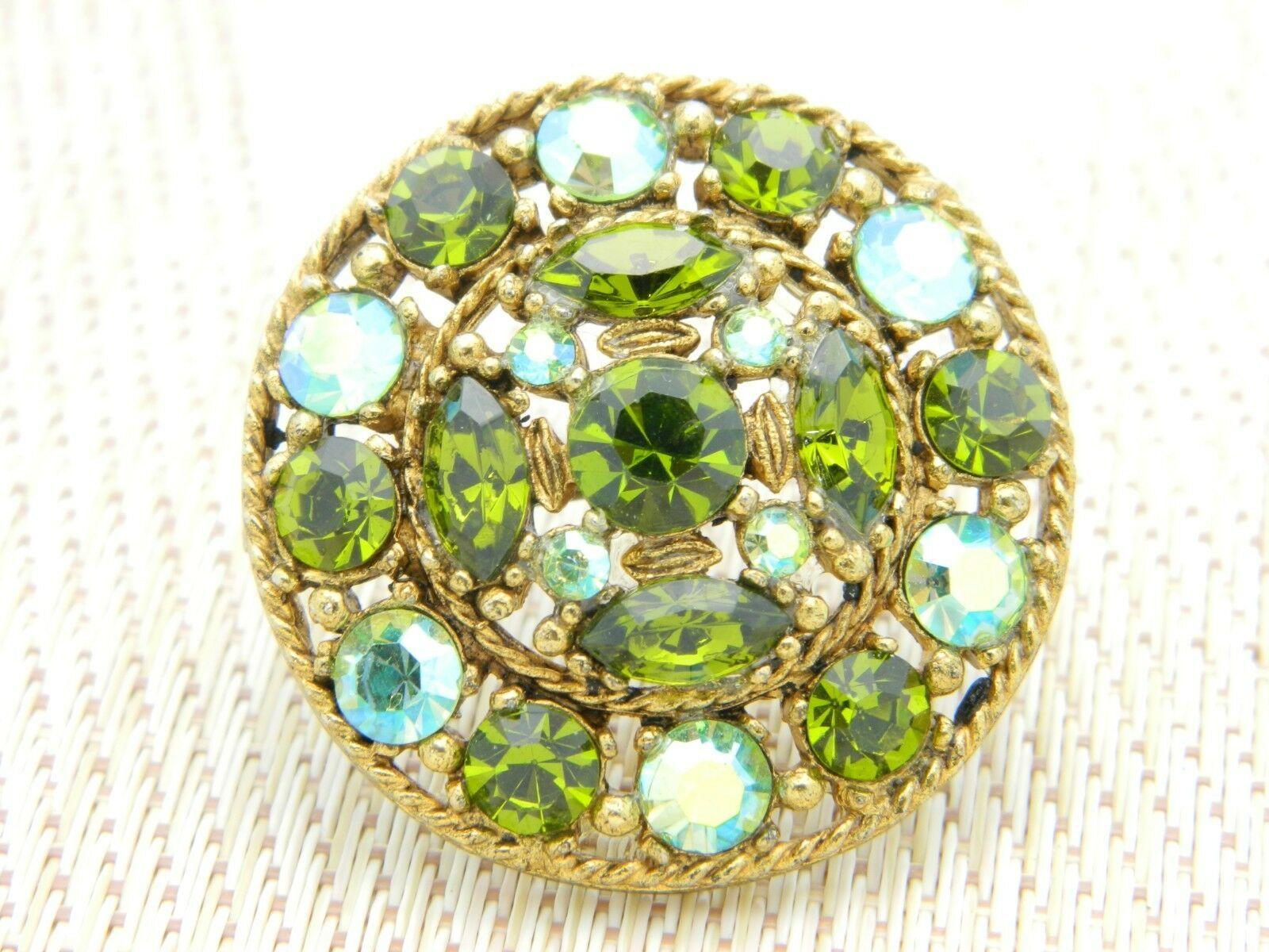 Green Aurora Borealis Rhinestone Medallion Gold Tone Vintage Brooch Pin