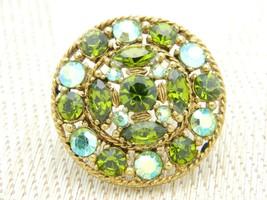 Green Aurora Borealis Rhinestone Medallion Gold Tone Vintage Brooch Pin - $25.24
