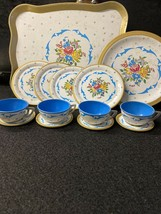 Vintage Toy Dishes Tin Flowers Blue with Gold Trim Ohio Art Co 14 Piece Set - $39.59