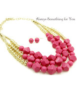 Three Strand Chunky Hot Pink Necklace & Earring Set  - $22.99