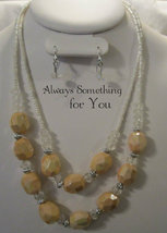New White Cream Necklace & Earring Set with Glass & Lucite Mixed Beads S... - $9.99
