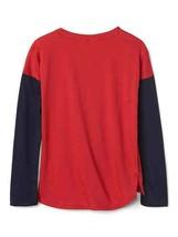 Gap Kids Girls T-shirt 6 7 8 Navy Red Colorblock Long Sleeve Crew Love Graphic image 2