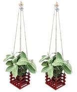 K'DAUZ Set of 2 Hanging Planter Basket Flower Plant Pots Decorative Garden - £21.49 GBP