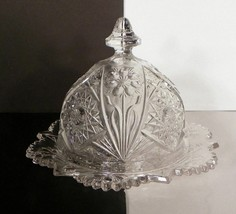 Vintage EAPG Covered Butter Imperial Glass #474 Cosmos Hobstar and Flower DAMAGE - $24.70