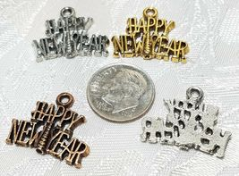 HAPPY NEW YEAR FINE PEWTER PENDANT CHARM - 21x17.5x2mm image 3