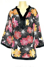 Alfani 20W Multi-Color 100% Silk Floral Tunic Top Kimono Black Red Plus ... - $29.99