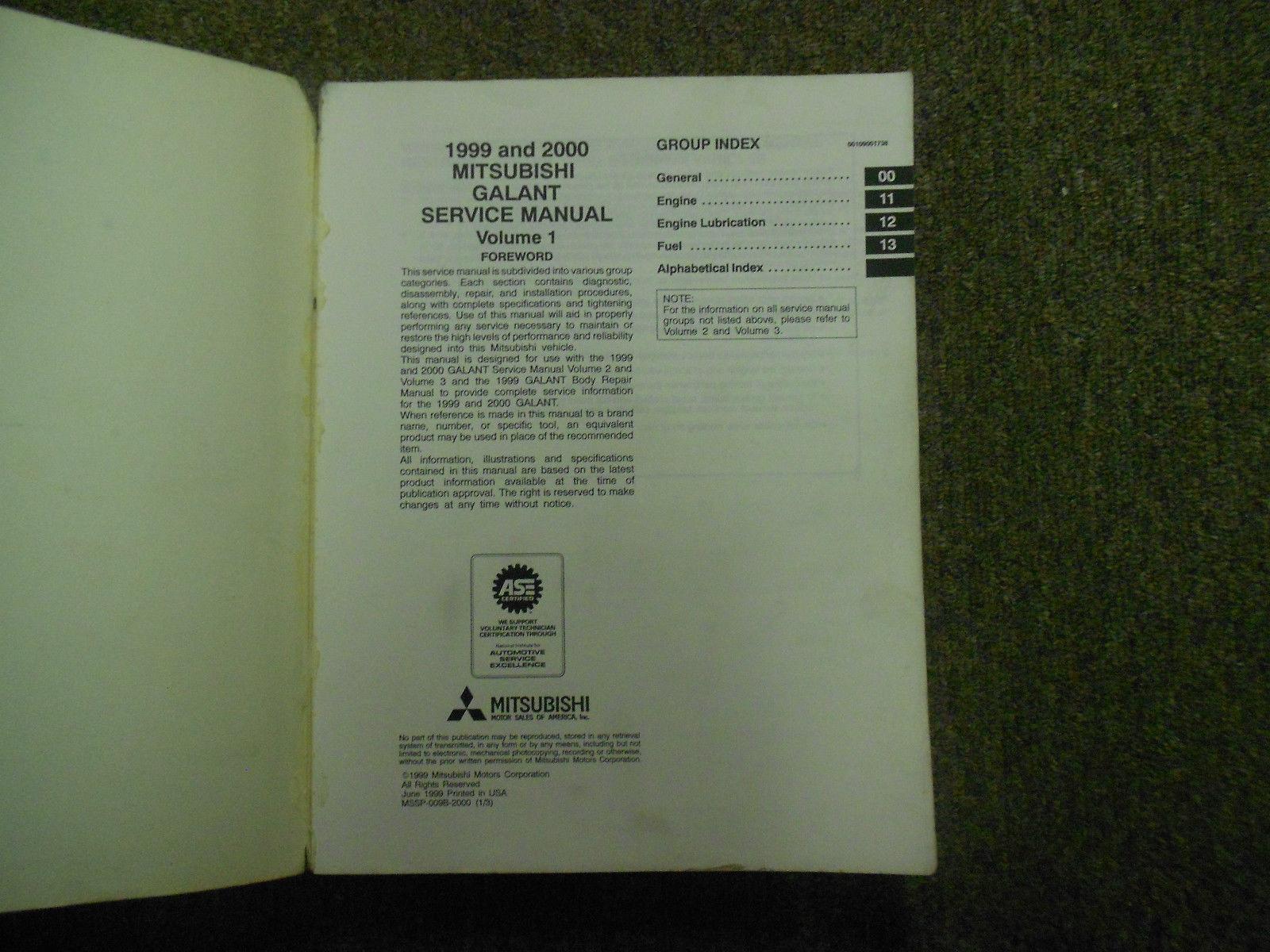 1999 2000 MITSUBISHI GALANT Service Shop Manual SET OEM DEALERSHIP BOOKS 1st EDI image 2
