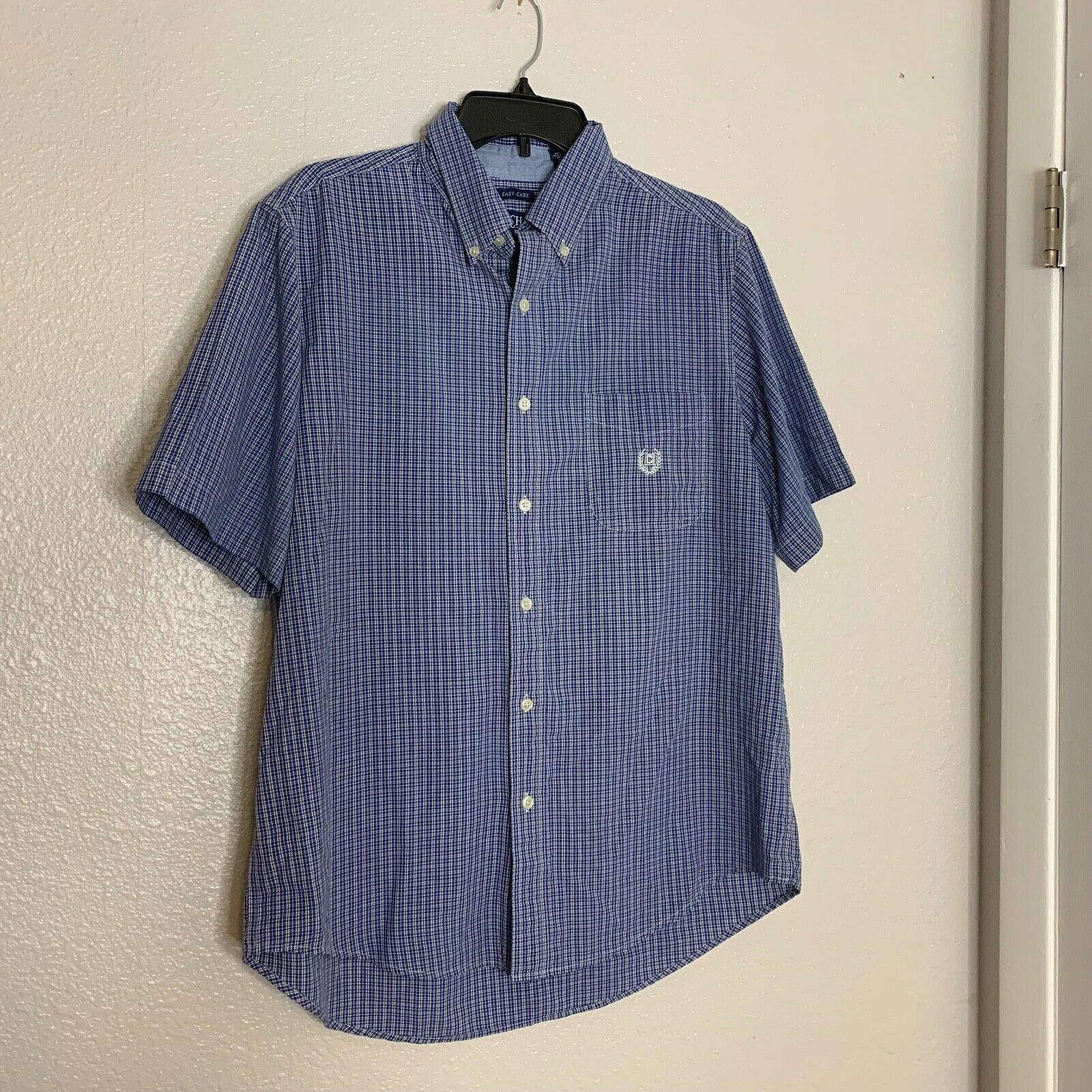 Chaps Mens Sz L Blue Short Sleeve Shirt Button Up - $8.02