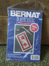 BERNAT Plastic Canvas CHECKBOOK COVER or PAPER CADDY Needlepoint SEALED Kit - $7.92