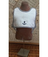 Baby SAILOR BODICE BIB Embroidered ANCHOR Terry-Lined White Snap GYMBORE... - $14.45