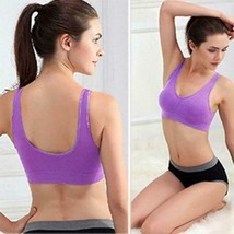 Ship From US Women Soft Sports Bra Yoga Fitness Stretch Workout Tank Top Seamles image 1