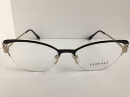 New Versace Mod.1239-B 1291 53mm Black Cats Eye Women's Eyeglasses Italy  - $179.99