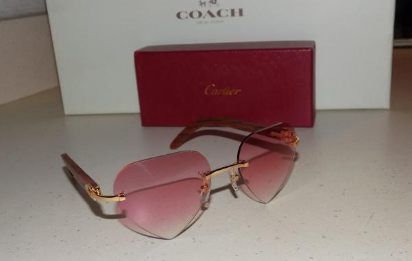 36335068f1 Cartier Bubynga Wood Custom Pink Heart Lens Buffalo Glasses -  290.00