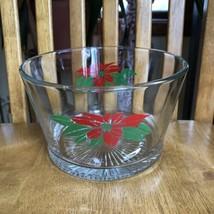 Poinsettias Glass Ice Bucket vintage Mid Century Modern Christmas Holidays - $14.85