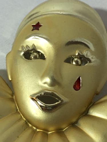 MARDI GRAS Jester Clown Pin Brooch Full Face Bust Mask Gold Tone Teardrop Star