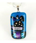 "Dichroic Fused Art Glass Blue Sparkle Rectang Floral Pendant Necklace 24"" Chain - $24.94"