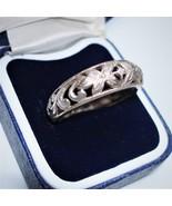 Vintage UK 1960s Filigree Open work Floral design Band Silver Ring s. 9U... - $67.50