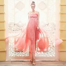 Attractive Silk chiffon Bohemia Maxi dress pink beach Spaghetti Strap Long Dress - $26.50