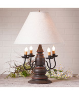 """3-Way COLONIAL TABLE LAMP & 17"""" Ivory Linen Shade - ESPRESSO Distress Fi... - $384.95"""